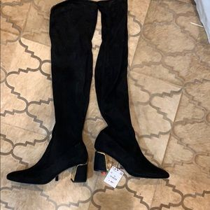 Zara knee high textile boots with gold detail